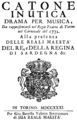 Johann Adolph Hasse - Catone in Utica - title page of the libretto, Turin 1732.png