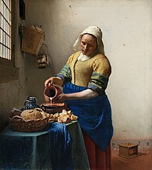 Johannes Vermeer - Het melkmeisje. The Milkmaid (De Melkmeid or Het Melkmeisje), sometimes called The Kitchen Maid, is an oil-on-canvas painting of a domestic kitchen maid by the Dutch artist Johannes Vermeer. It is now in the Rijksmuseum in Amsterdam, Netherlands