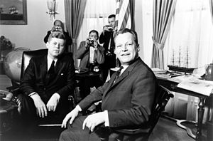 John F. Kennedy meeting with Willy Brandt at t...