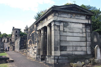 New Calton Burial Ground - John Gall's vault, New Calton Cemetery, looking towards the watchtower
