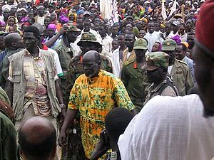 Nilotic peoples - Politician John Garang (Dinka) amongst Nilotic supporters in South Sudan.