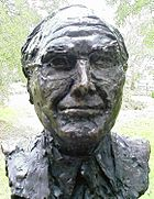Bust of John Howard by political cartoonist, caricaturist and sculptor Peter Nicholson located in the Prime Minister's Avenue in the Ballarat Botanical Gardens