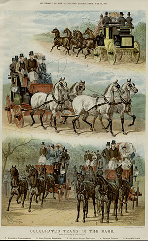 """John Sturgess - """"Celebrated Teams in the Park"""" from Illustrated London News of 28 May 1887"""