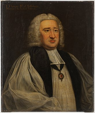 John Thomas (bishop of Salisbury) - John Thomas, painted after 1757 by un unknown artist. Around his neck can be seen the insignia of the Order of the Garter.