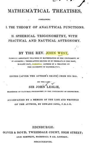 John West (mathematician) - Frontpage of Treatises (1838)