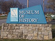 Johnson County Museum of History Entry sign, Shawnee, Kansas, USA