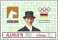 Josef Neckermann 1969 Ajman stamp.jpg