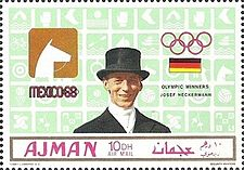 Josef Neckermann 1969 Ajman stamp.jpg