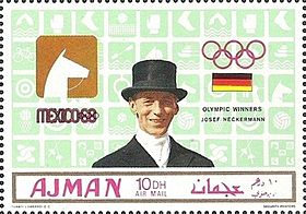 Josef Neckermann 1969 Ajman stamp