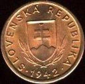 Coins of the Slovak koruna (1939–45) - Image: K Sh 10 1942 obverse