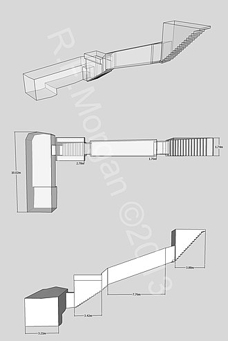 KV46 - Isometric, plan and elevation images of KV46 taken from a 3d model