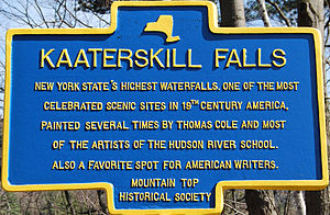 Kaaterskill Falls - New York State historical marker for the falls.