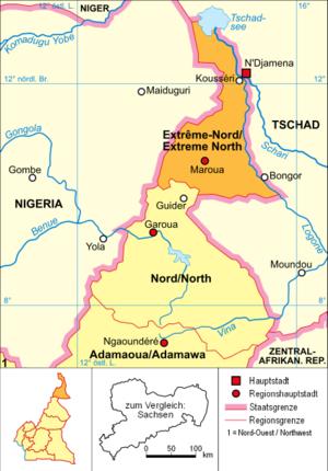 Battle of Maroua–Miskin - Political map of Cameroon (Far North Region highlighted)