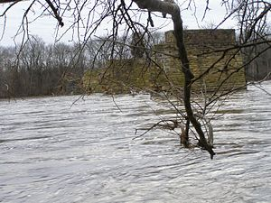 Kankakee River State Park - Kankakee River with the old bridge piers. (river access off W 7000 N a.k.a. W Wamer Bridge Road)