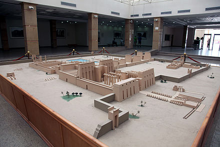 A recreation of the temple complex at Karnak visiting center. KarnakVisitorCenterModel.jpg
