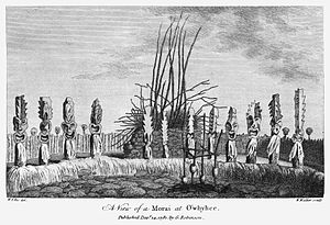 Heiau - An illustration of a heiau at Kealakekua Bay at the time of James Cook's third voyage, by William Ellis.