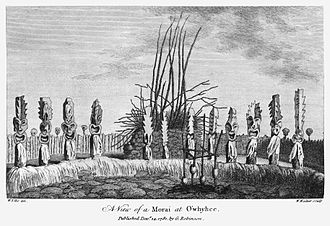 Kealakekua Bay - An illustration of the Hikiau heiau at Kealakekua Bay, by William Ellis