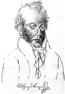 A charcoal self-portrait of Kempelen, with signature.