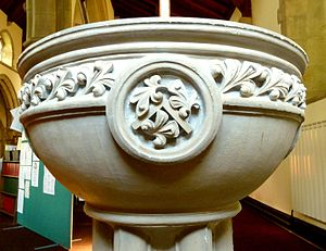 Church of St Thomas the Apostle, Killinghall - Font by Charles Mawer, showing square symbolising Thomas the Apostle