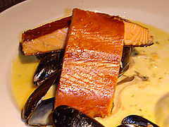 Kiln-roasted salmon char-grilled with a shellfish, mushroom and whisky sauce at Loch Fyne, Newhaven Harbour, Edinburgh.jpg
