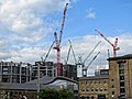 King's Cross Central development, Granary Square and tower cranes 02.jpg