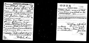 Selective Service System - WWI draft card.  Lower left corner to be removed by men of African background to help keep military segregated