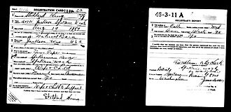 Selective Service System - World War I draft card.  Lower left corner to be removed by men of African ancestry in order to keep military segregated