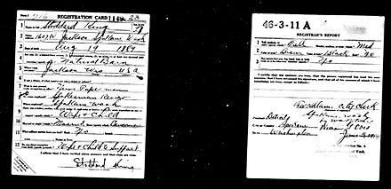 WWI draft card, the lower left corner to be removed by men of African background to help keep military segregated King, Stoddard WW1 draft card.jpg
