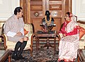King of Bhutan His Majesty Jigme Khesar Namgyel Wangchuck meeting the President, Smt. Pratibha Devisingh Patil, in New Delhi on October 22, 2010.jpg
