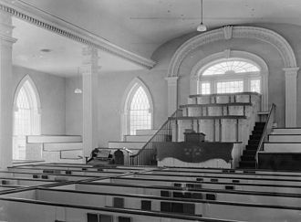 Solemn assembly - Interior of the Kirtland Temple, where the first solemn assembly in the LDS church was held in 1836
