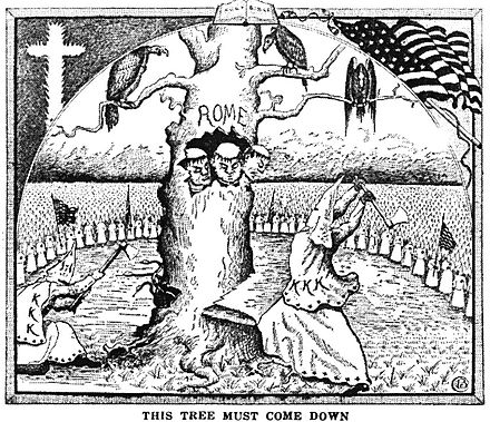 Branford Clarke illustration in The Ku Klux Klan in Prophecy 1925 by Bishop Alma White published by the Pillar of Fire Church in Zarephath, NJ Klantreerome.jpg