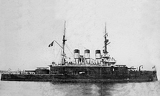 Romanian Naval Forces - Potemkin at anchor with the Romanian flag hoisted on her mast, Constanța, July 1905