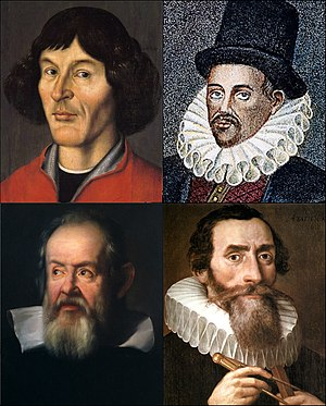 The Man in the Moone - Clockwise, from top left: Copernicus, Gilbert, Kepler, Galileo