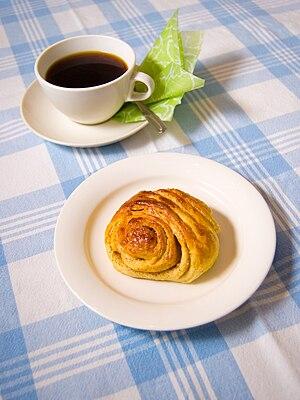 English: A Finnish cinnamon roll, korvapuusti....