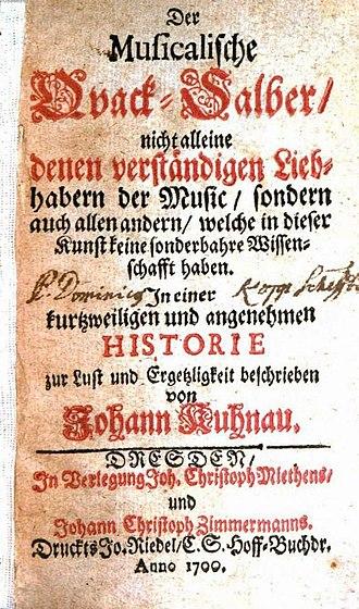 Johann Kuhnau - Title page of Kuhnau's satirical novel Der musicalische Quack-Salber.