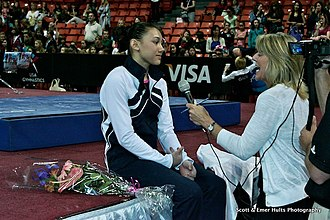 Kyla Ross - Ross giving an interview after finishing second in the all-around at the 2012 Secret U.S. Classic.