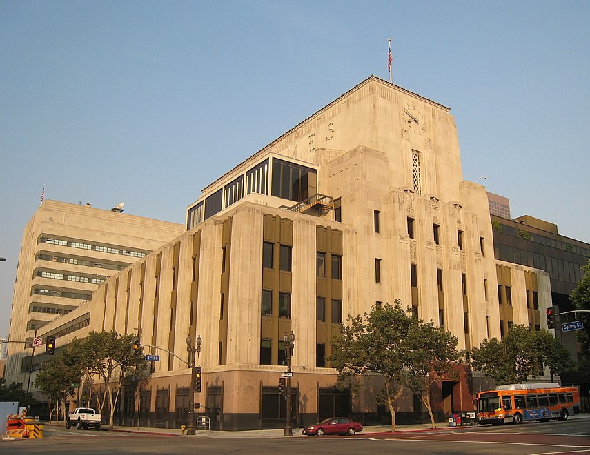 Los Angeles Times Building, corner of 1st/Spring