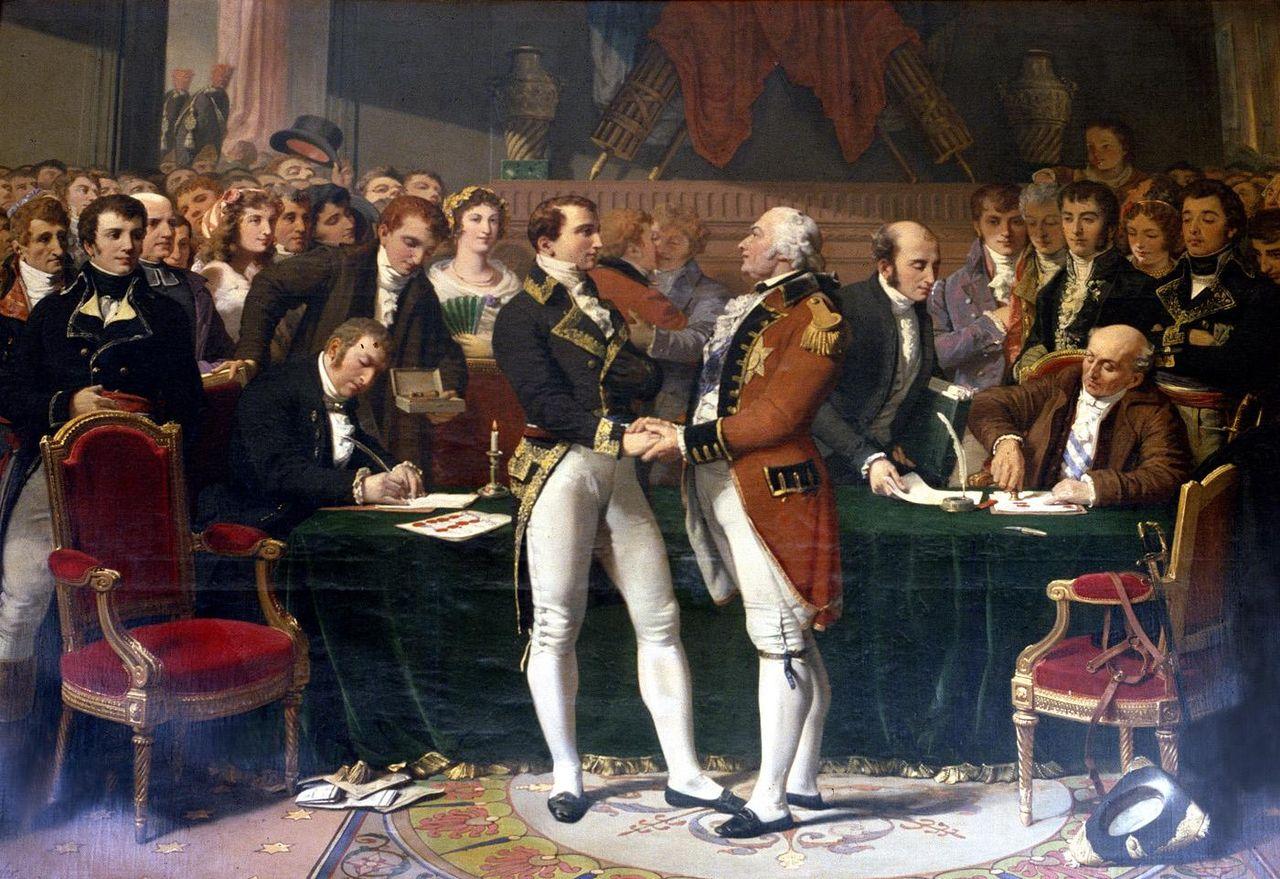 Tableau montrant Joseph Bonaparte et Cornwallis échangeant une poignée de mains au milieu d'une foule tandis que deux hommes signent un document sur une table.