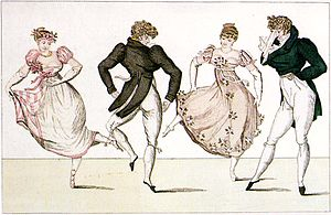 "Country dance - The ""La Trénis"" figure of the Contredanse, an illustration from Le Bon Genre, Paris, 1805"