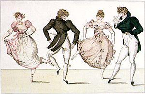 """Country dance - The """"La Trénis"""" figure of the Contredanse, an illustration from Le Bon Genre, Paris, 1805"""