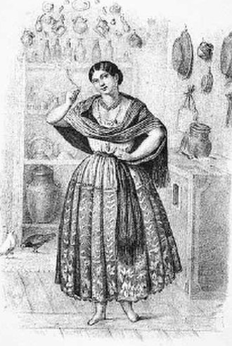 """China poblana - """"La china"""" woman, in a lithography that accompanied the heading of the same name in the book Los mexicanos pintados por sí mismos about the milieu of Mexican culture."""