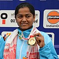 Lajja Goswami of India won Bronze Medal in Women's 50m Rifle Shooting, at the 12th South Asian Games-2016, in Guwahati (cropped).jpg