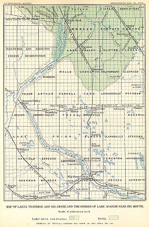 Traverse Gap - 1895 map of the region of southern Lake Agassiz, showing how the lake (its bed shown in green) funneled into the Traverse Gap at Lake Traverse.