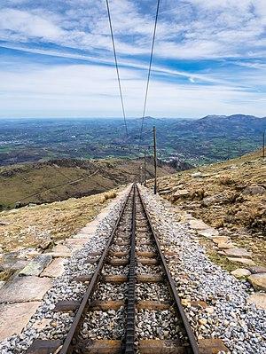 """Rails of the Larrun rack railway (""""Le Petit Train""""). Pyrénées-Atlantiques, France"""
