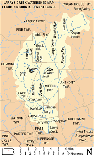 "A map with caption ""Larrys Creek Watershed Map Lycoming County, Pennsylvania"". The top left corner is labeled ""Pine Township"" and shows the village ""English Center"". The top right corner is labeled ""Cogan House Township"", has four villages (""Steam Valley"", ""Cogan House"", ""Brookside"", and ""White Pine"") and labeled streams ""Larrys Creek"", ""Wolf Run"", ""Wendell Run"", ""Roaring Run"", and Second Fork"". At left center is ""Cummins Township"" with streams ""Lawshe Run"", ""Funston Run"", ""Dog Run"", and ""Tarkiln Run"". In the center is ""Mifflin Township"" which surrounds the borough of ""Salladasburg""; named streams are ""Little Harbor Run"", ""Joes Run"", ""Marsh Run"", ""First Fork"", ""Mud Run"", and ""Canoe Run"". ""Anthony Township"" is at center right, and in the lower left corner are ""Watson"", ""Porter"", and ""Pine Creek"" townships and the borough of ""Jersey Shore"". In middle center is ""Piatt Township"" with the villages of ""Larryville"" and ""Larrys Creek"" and the stream ""Seeley Run"", below this is ""Nippenose Township"". In the lower right corner is ""Woodward Township"" and the label for the ""West Branch Susquehanna River""."