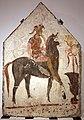 Lastra dipinta con cavaliere armato e corazza a dischi di tipo iberico, 350-300 ac ca., da tomba 58 della necropoli di andriuolo a paestum (man di paestum) 01.jpg