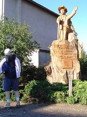 Le Bouchet-Saint-Nicolas - A carved wooden monument on the Stevenson Trail, in Le Bouchet-Saint-Nicolas