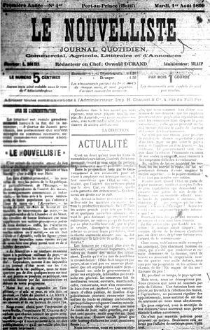Le Nouvelliste (Haiti) - Image: Le Nouvelliste first issue