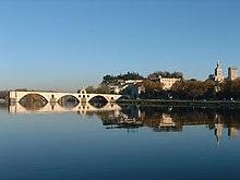 Il ponte di Avignone visto dall'isola della Barthelasse.
