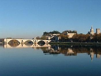 The bridge over the River Rhône at Avignon (ph...
